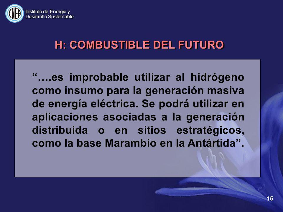 ….es improbable utilizar al hidrógeno como insumo para la generación masiva de energía eléctrica. Se podrá utilizar en aplicaciones asociadas a la gen