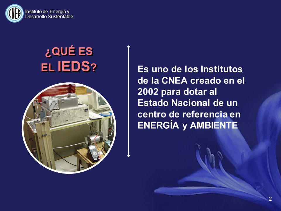 2 Es uno de los Institutos de la CNEA creado en el 2002 para dotar al Estado Nacional de un centro de referencia en ENERGÍA y AMBIENTE ¿QUÉ ES EL IEDS