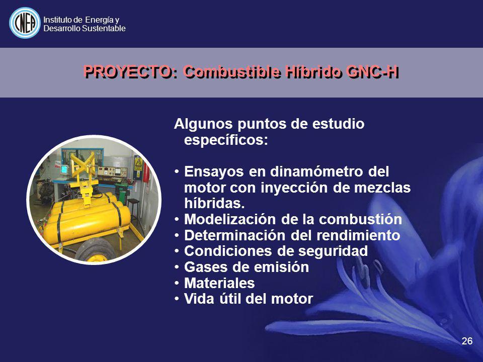 26 Algunos puntos de estudio específicos: Ensayos en dinamómetro del motor con inyección de mezclas híbridas. Modelización de la combustión Determinac