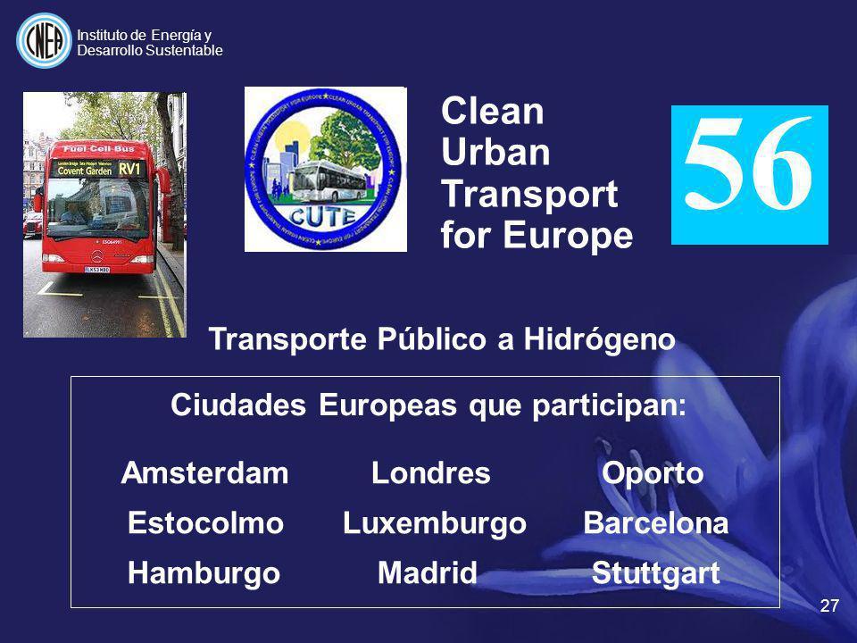 Clean Urban Transport for Europe Transporte Público a Hidrógeno Ciudades Europeas que participan: Amsterdam Estocolmo HamburgoStuttgart Londres Luxemb