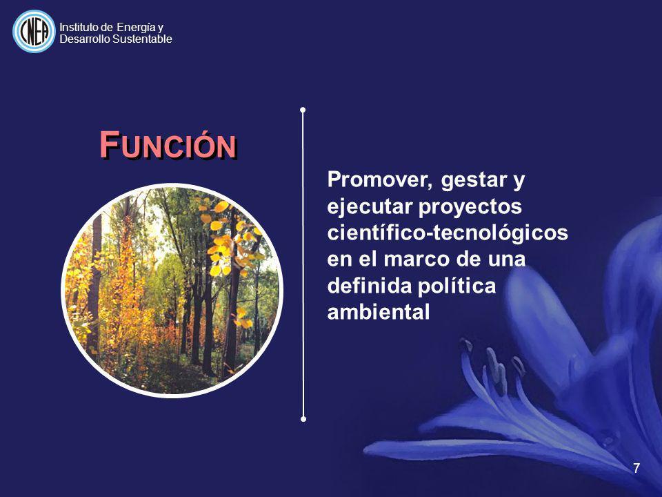 8 Promover el uso de energía en forma sustentable, poniendo en marcha proyectos científico-tecnológicos que contribuyen al desarrollo económico y social del país M ISIÓN Instituto de Energía y Desarrollo Sustentable