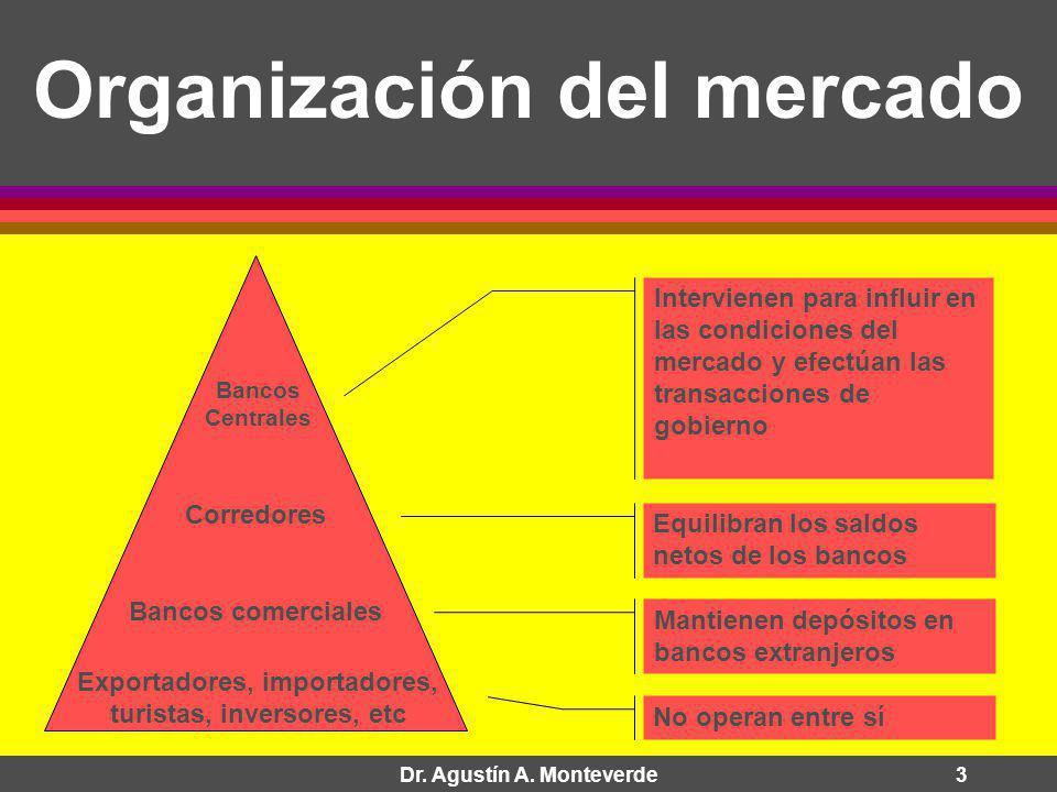 Dr. Agustín A. Monteverde3 Organización del mercado Exportadores, importadores, turistas, inversores, etc Bancos comerciales Corredores Bancos Central