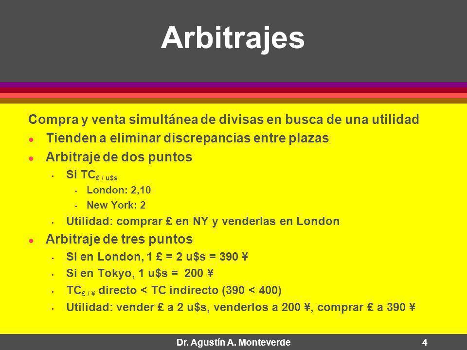 Dr. Agustín A. Monteverde4 Arbitrajes Compra y venta simultánea de divisas en busca de una utilidad Tienden a eliminar discrepancias entre plazas Arbi