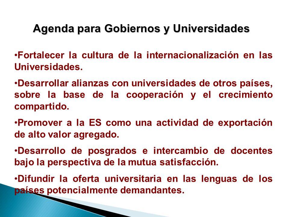 Agenda para Gobiernos y Universidades Fortalecer la cultura de la internacionalización en las Universidades.