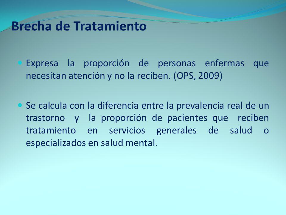 Brecha de Tratamiento Expresa la proporción de personas enfermas que necesitan atención y no la reciben. (OPS, 2009) Se calcula con la diferencia entr