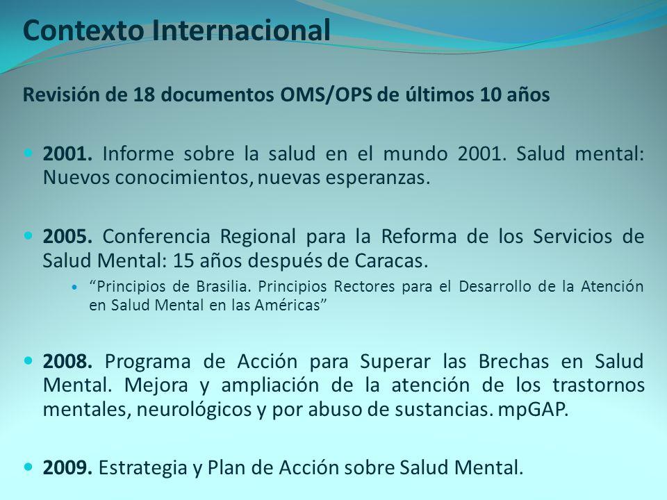Contexto Internacional Revisión de 18 documentos OMS/OPS de últimos 10 años 2001. Informe sobre la salud en el mundo 2001. Salud mental: Nuevos conoci