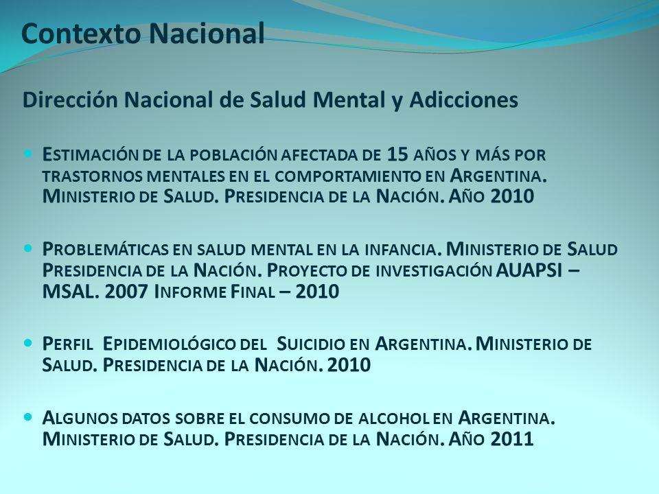Contexto Nacional Dirección Nacional de Salud Mental y Adicciones E STIMACIÓN DE LA POBLACIÓN AFECTADA DE 15 AÑOS Y MÁS POR TRASTORNOS MENTALES EN EL