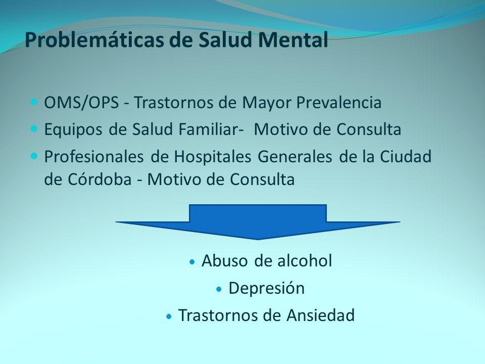 Problemáticas de Salud Mental OMS/OPS - Trastornos de Mayor Prevalencia Equipos de Salud Familiar- Motivo de Consulta Profesionales de Hospitales Gene