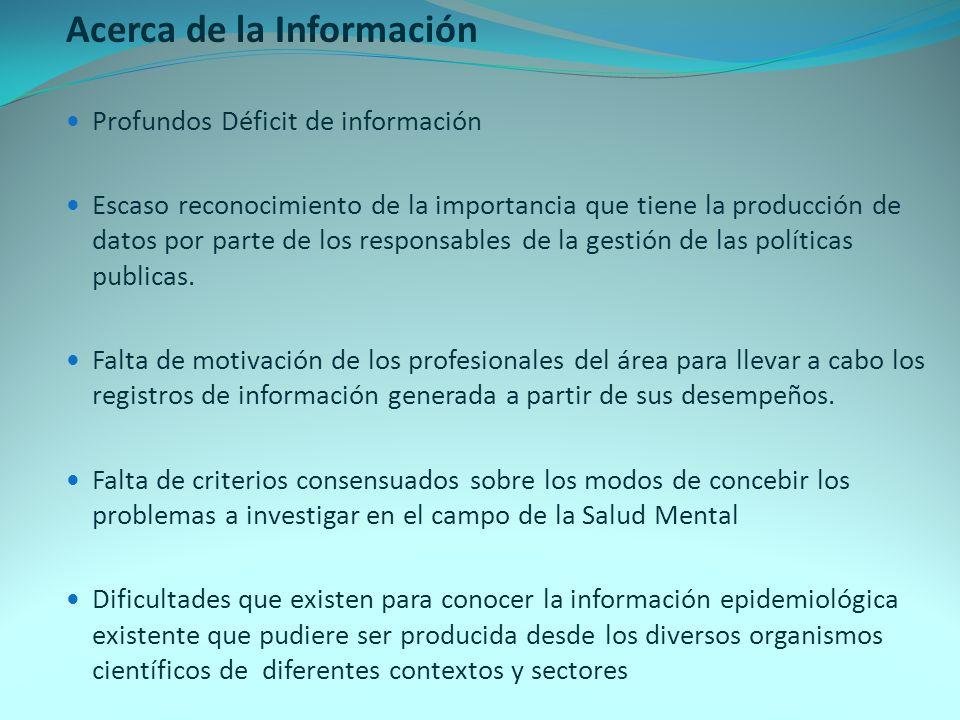 Acerca de la Información Profundos Déficit de información Escaso reconocimiento de la importancia que tiene la producción de datos por parte de los re