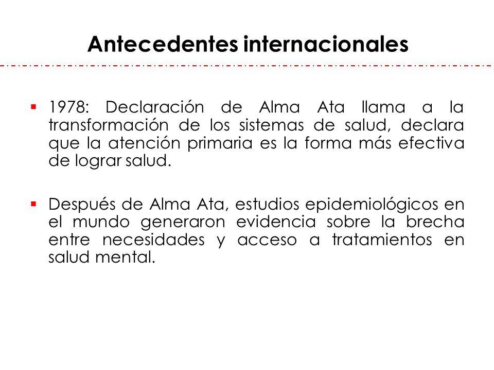 Antecedentes internacionales 1978: Declaración de Alma Ata llama a la transformación de los sistemas de salud, declara que la atención primaria es la