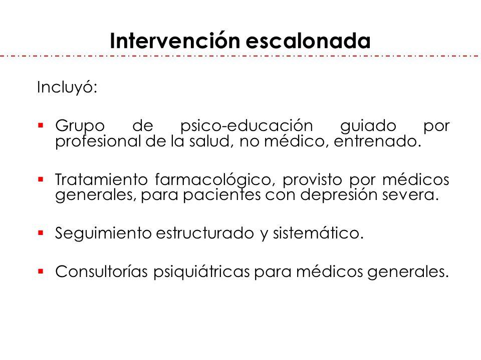 Intervención escalonada Incluyó: Grupo de psico-educación guiado por profesional de la salud, no médico, entrenado. Tratamiento farmacológico, provist