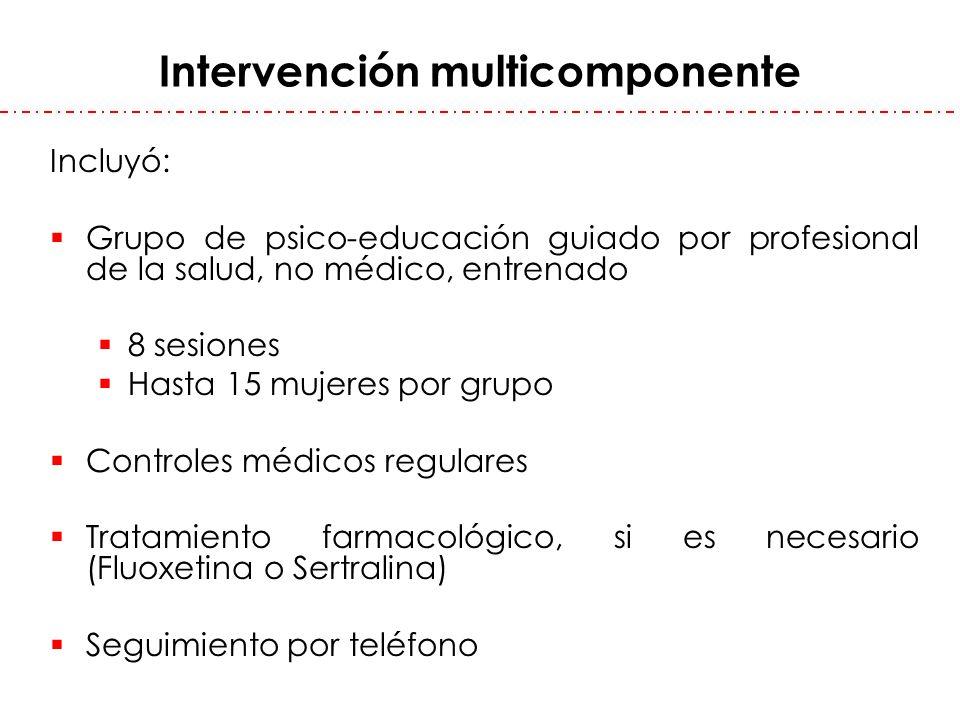 Intervención multicomponente Incluyó: Grupo de psico-educación guiado por profesional de la salud, no médico, entrenado 8 sesiones Hasta 15 mujeres po