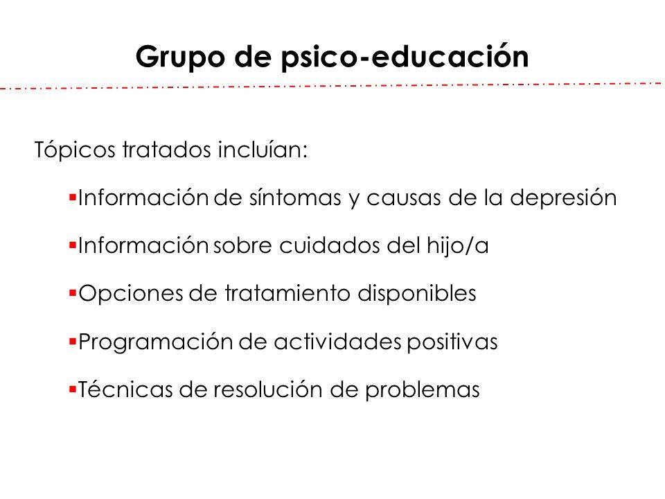 Grupo de psico-educación Tópicos tratados incluían: Información de síntomas y causas de la depresión Información sobre cuidados del hijo/a Opciones de