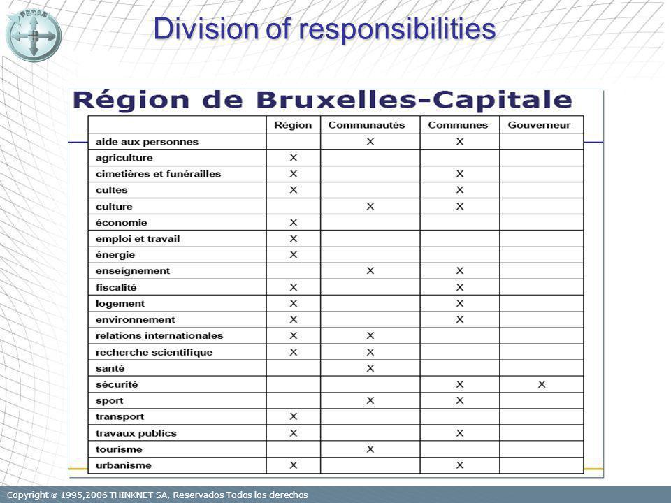 Copyright 1995,2006 THINKNET SA, Reservados Todos los derechos Division of responsibilities