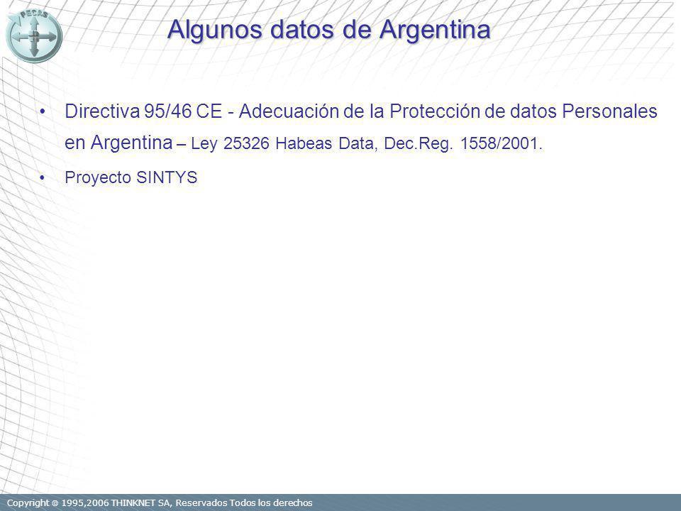 Copyright 1995,2006 THINKNET SA, Reservados Todos los derechos Algunos datos de Argentina Directiva 95/46 CE - Adecuación de la Protección de datos Personales en Argentina – Ley 25326 Habeas Data, Dec.Reg.
