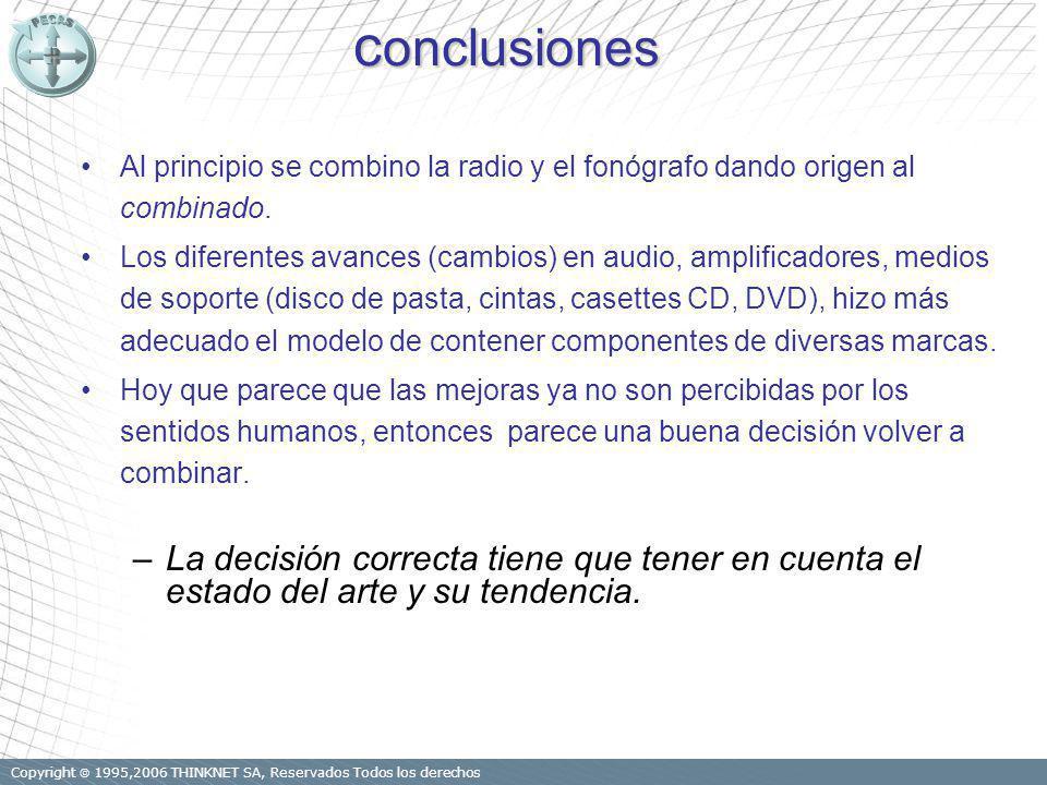Copyright 1995,2006 THINKNET SA, Reservados Todos los derechos c onclusiones Al principio se combino la radio y el fonógrafo dando origen al combinado.