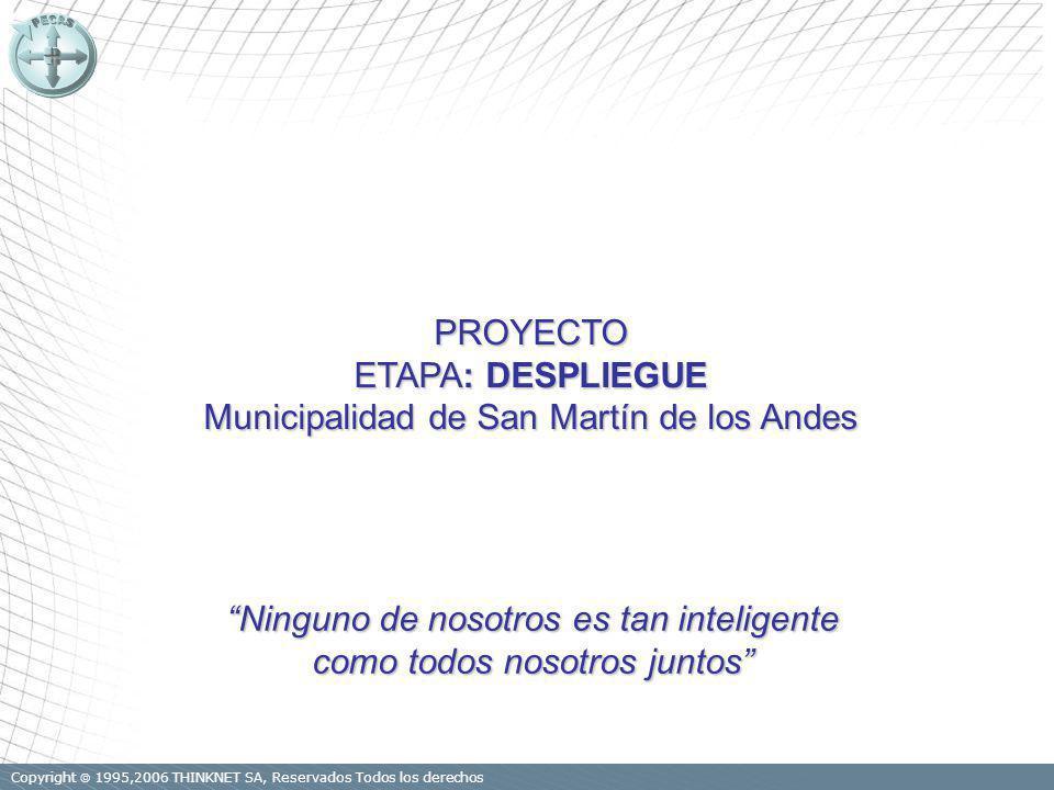 Copyright 1995,2006 THINKNET SA, Reservados Todos los derechos PROYECTO ETAPA: DESPLIEGUE Municipalidad de San Martín de los Andes Ninguno de nosotros es tan inteligente como todos nosotros juntos