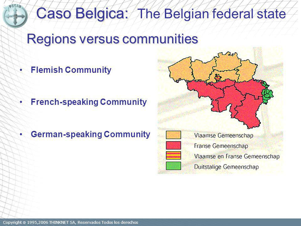 Copyright 1995,2006 THINKNET SA, Reservados Todos los derechos Regions versus communities Flemish Community French-speaking Community German-speaking
