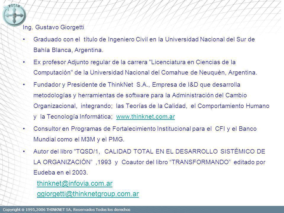 Ing. Gustavo Giorgetti Graduado con el título de Ingeniero Civil en la Universidad Nacional del Sur de Bahía Blanca, Argentina. Ex profesor Adjunto re