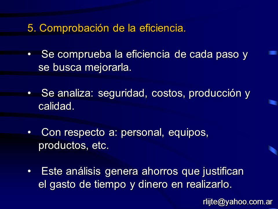 5. Comprobación de la eficiencia. Se comprueba la eficiencia de cada paso y se busca mejorarla. Se comprueba la eficiencia de cada paso y se busca mej