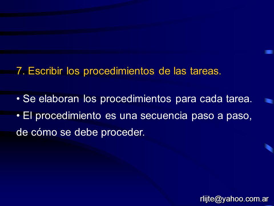 7. Escribir los procedimientos de las tareas. Se elaboran los procedimientos para cada tarea. El procedimiento es una secuencia paso a paso, de cómo s