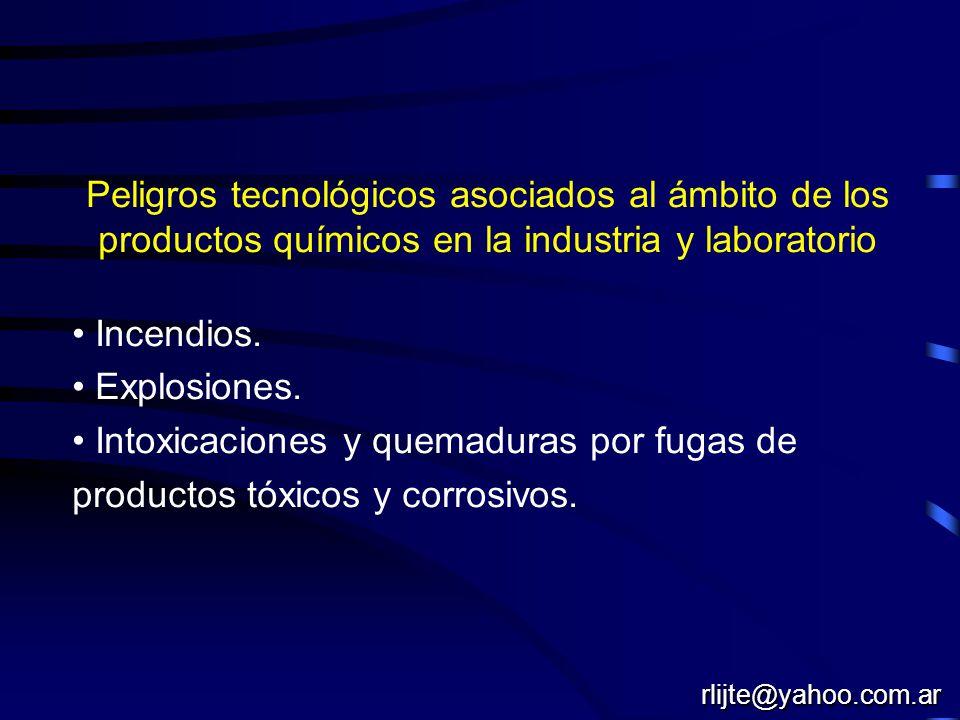 Peligros tecnológicos asociados al ámbito de los productos químicos en la industria y laboratorio Incendios. Explosiones. Intoxicaciones y quemaduras
