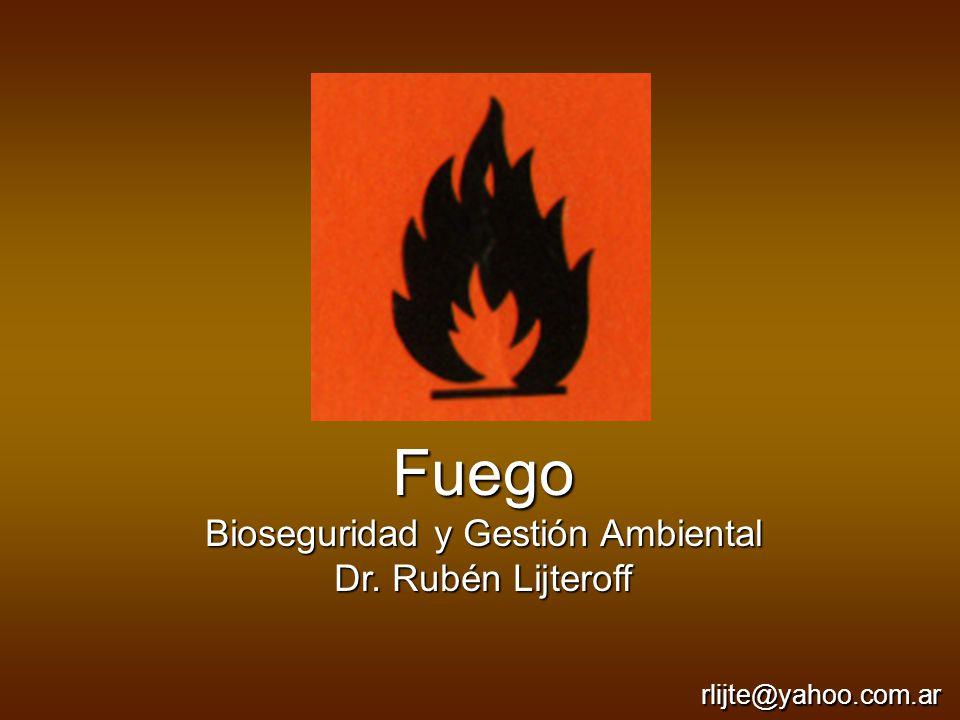 Fuego Bioseguridad y Gestión Ambiental Dr. Rubén Lijteroff rlijte@yahoo.com.ar