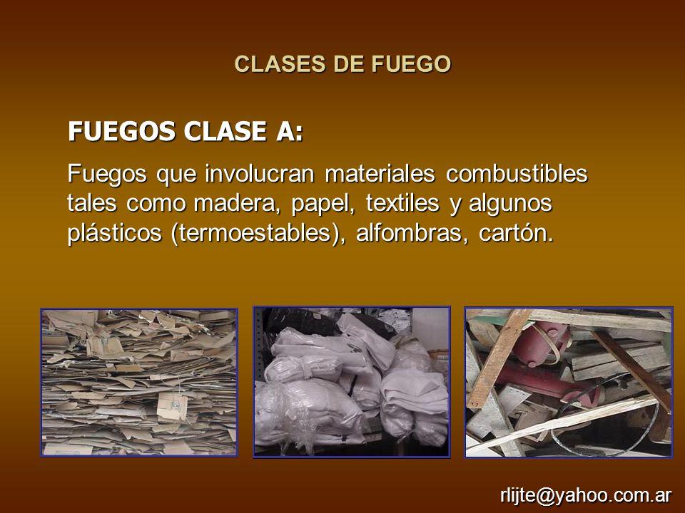 CLASES DE FUEGO Fuegos que involucran materiales combustibles tales como madera, papel, textiles y algunos plásticos (termoestables), alfombras, cartó