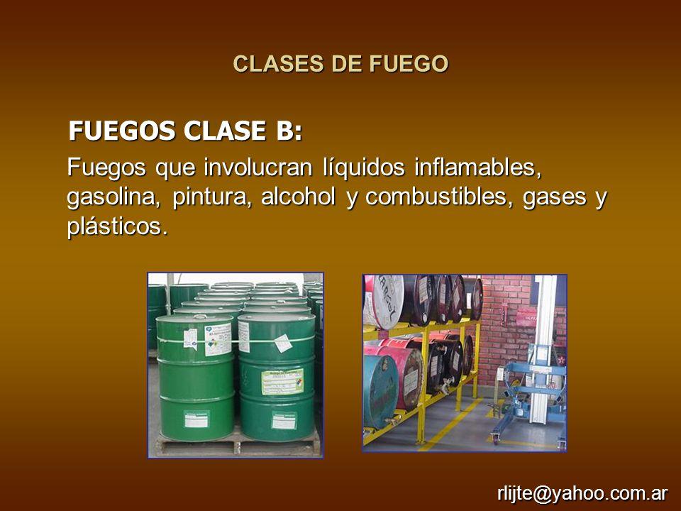 CLASES DE FUEGO Fuegos que involucran líquidos inflamables, gasolina, pintura, alcohol y combustibles, gases y plásticos. FUEGOS CLASE B: FUEGOS CLASE