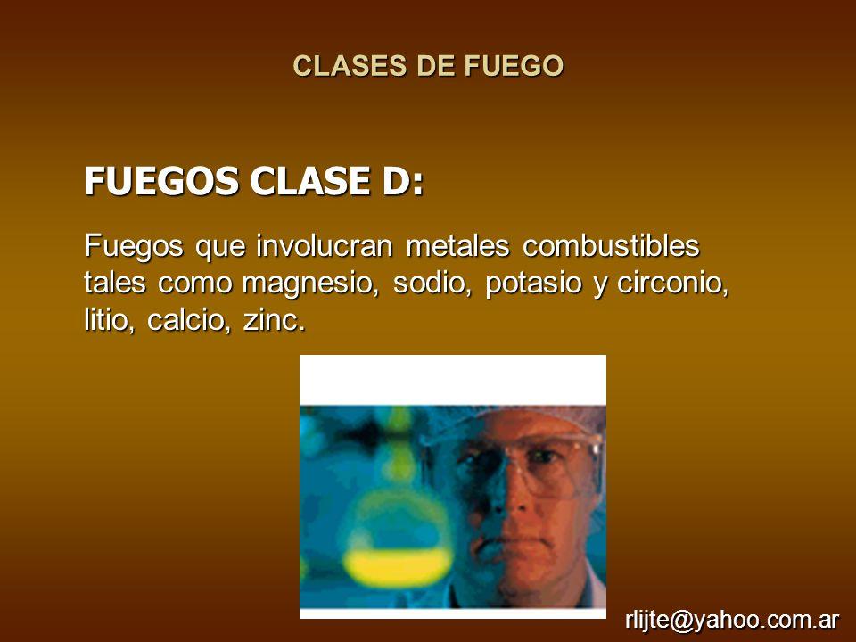 CLASES DE FUEGO Fuegos que involucran metales combustibles tales como magnesio, sodio, potasio y circonio, litio, calcio, zinc. FUEGOS CLASE D: FUEGOS