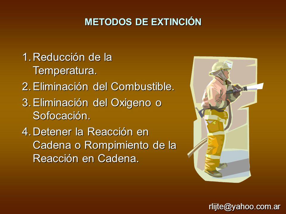 METODOS DE EXTINCIÓN 1.Reducción de la Temperatura. 2.Eliminación del Combustible. 3.Eliminación del Oxigeno o Sofocación. 4.Detener la Reacción en Ca