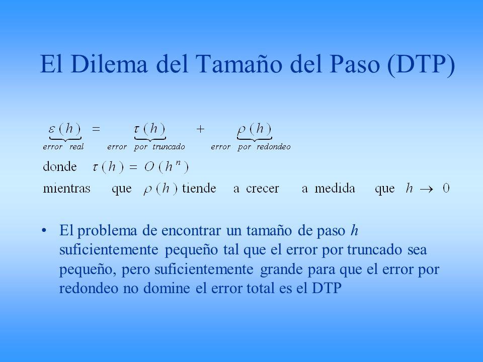 El Dilema del Tamaño del Paso (DTP) El problema de encontrar un tamaño de paso h suficientemente pequeño tal que el error por truncado sea pequeño, pe