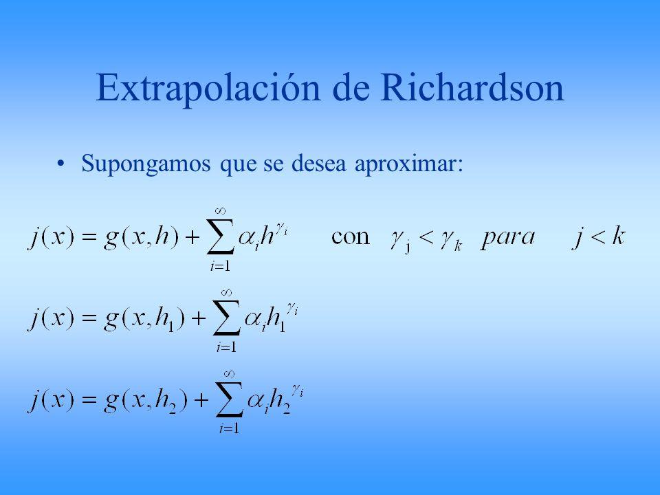 Extrapolación de Richardson Supongamos que se desea aproximar: