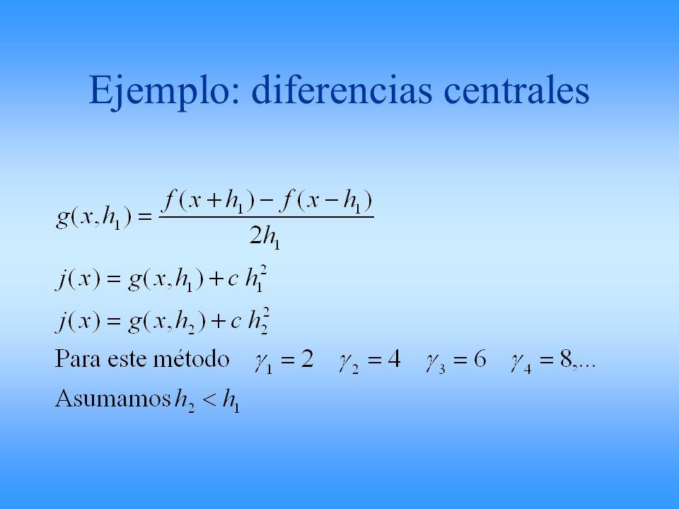 Ejemplo: diferencias centrales