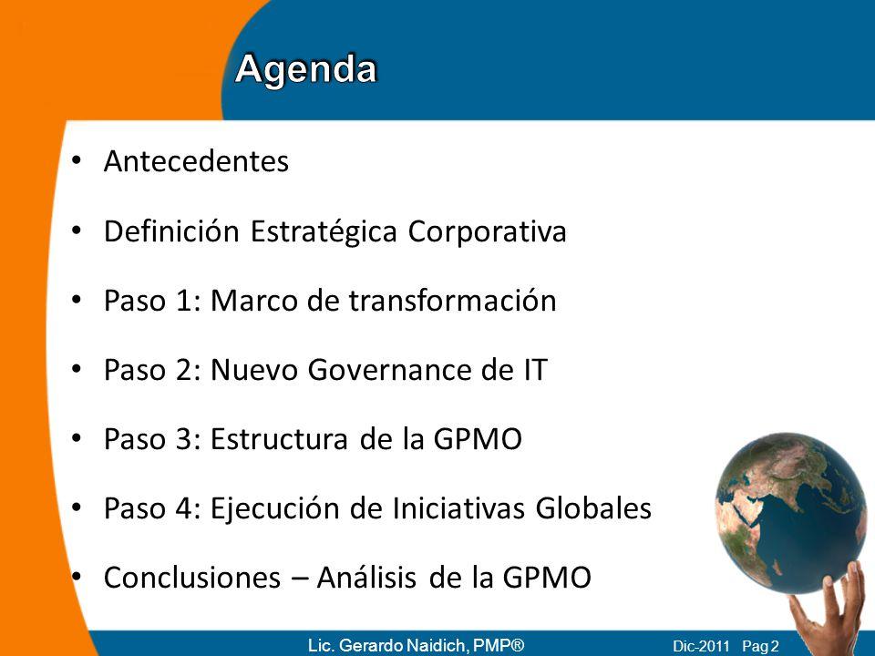 Antecedentes Definición Estratégica Corporativa Paso 1: Marco de transformación Paso 2: Nuevo Governance de IT Paso 3: Estructura de la GPMO Paso 4: E