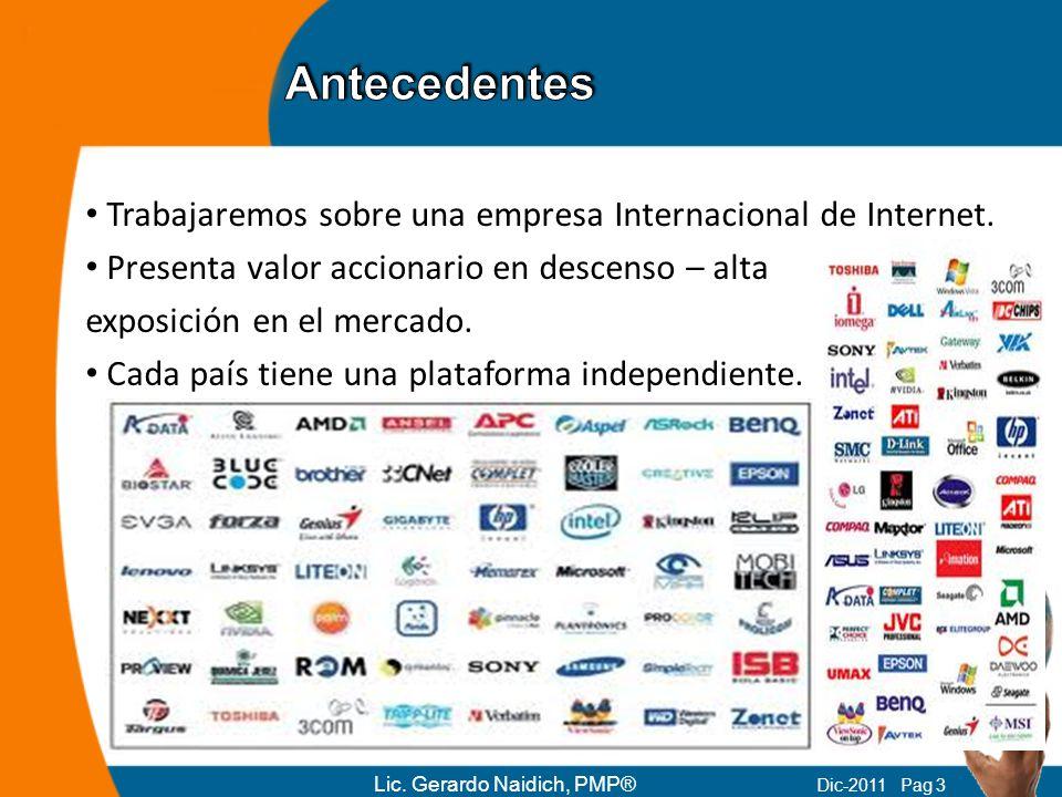 Trabajaremos sobre una empresa Internacional de Internet. Presenta valor accionario en descenso – alta exposición en el mercado. Cada país tiene una p