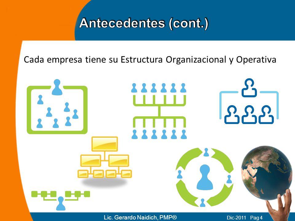 Cada empresa tiene su Estructura Organizacional y Operativa Lic. Gerardo Naidich, PMP® Dic-2011 Pag 4