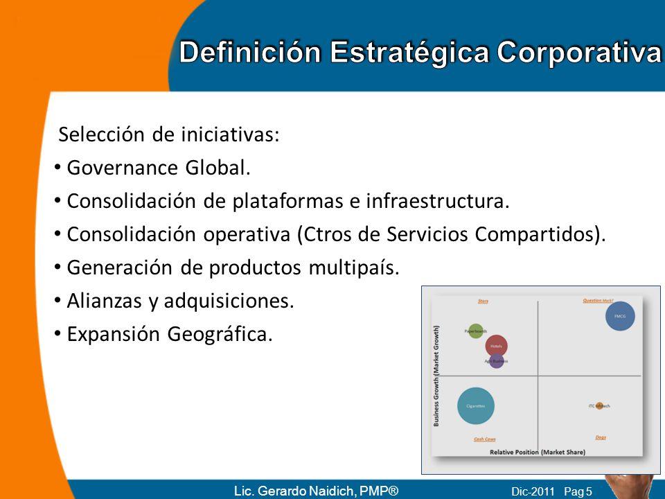 Selección de iniciativas: Governance Global. Consolidación de plataformas e infraestructura. Consolidación operativa (Ctros de Servicios Compartidos).
