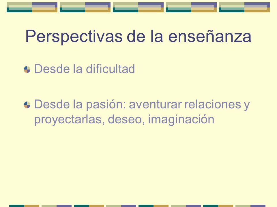 Perspectivas de la enseñanza Desde la dificultad Desde la pasión: aventurar relaciones y proyectarlas, deseo, imaginación