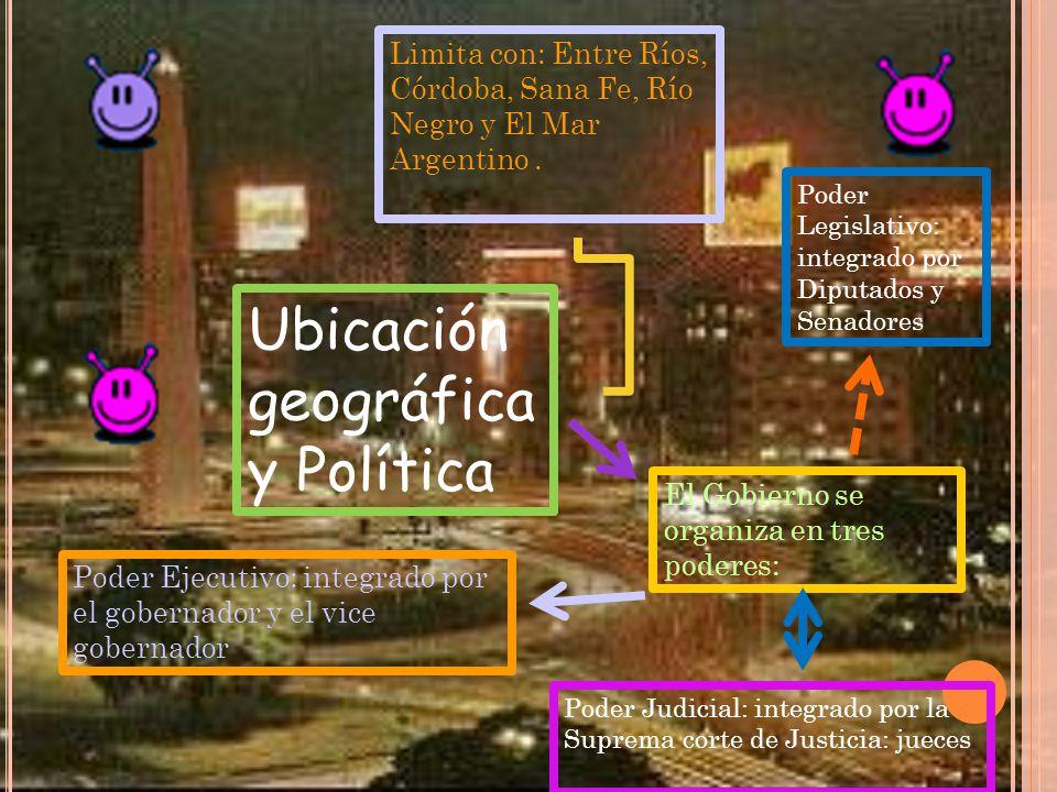 Ubicación geográfica y Política Limita con: Entre Ríos, Córdoba, Sana Fe, Río Negro y El Mar Argentino.