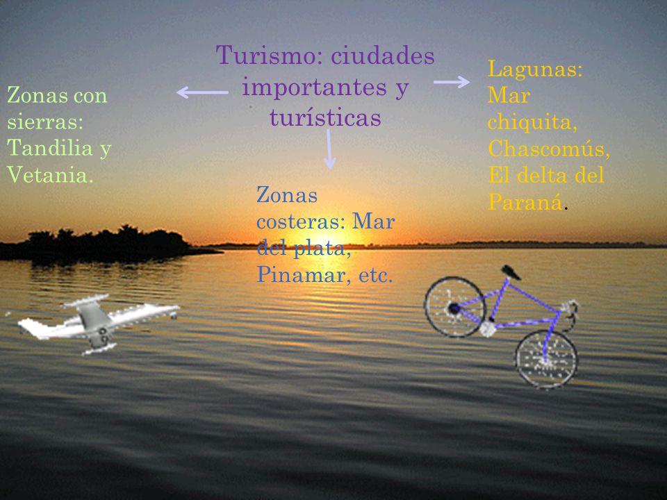 Turismo: ciudades importantes y turísticas Zonas con sierras: Tandilia y Vetania.