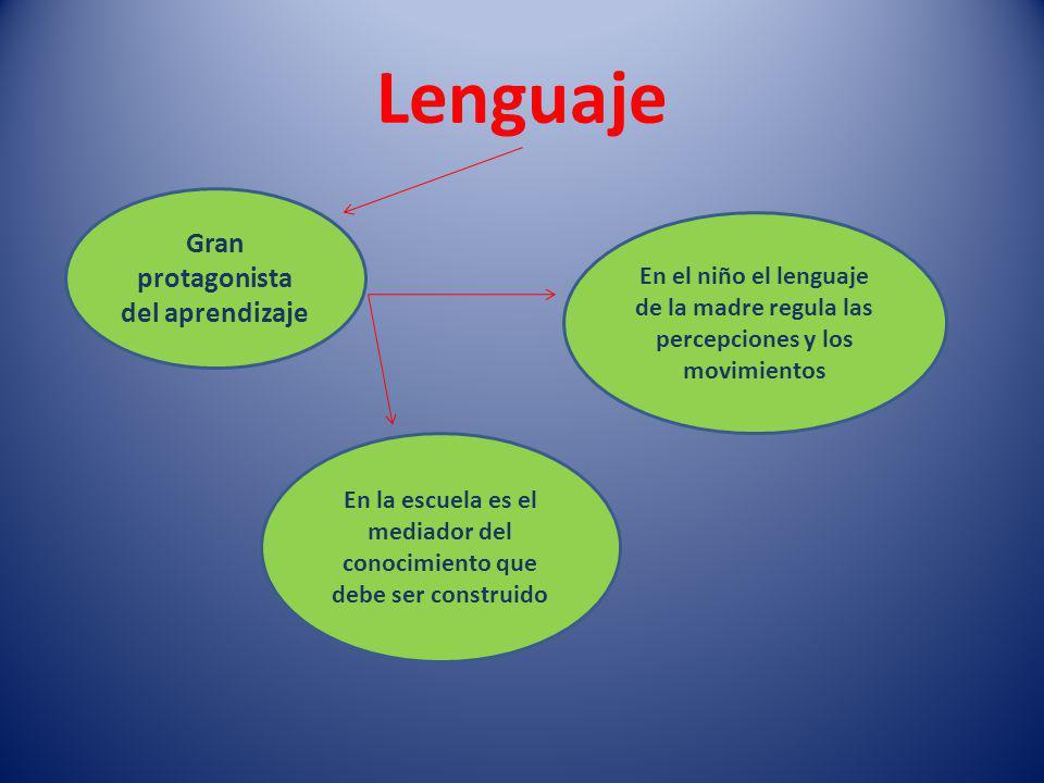 Lenguaje Gran protagonista del aprendizaje En el niño el lenguaje de la madre regula las percepciones y los movimientos En la escuela es el mediador del conocimiento que debe ser construido