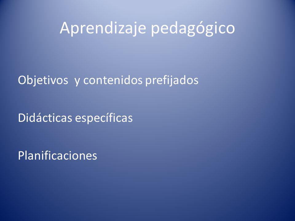 Aprendizaje pedagógico Objetivos y contenidos prefijados Didácticas específicas Planificaciones