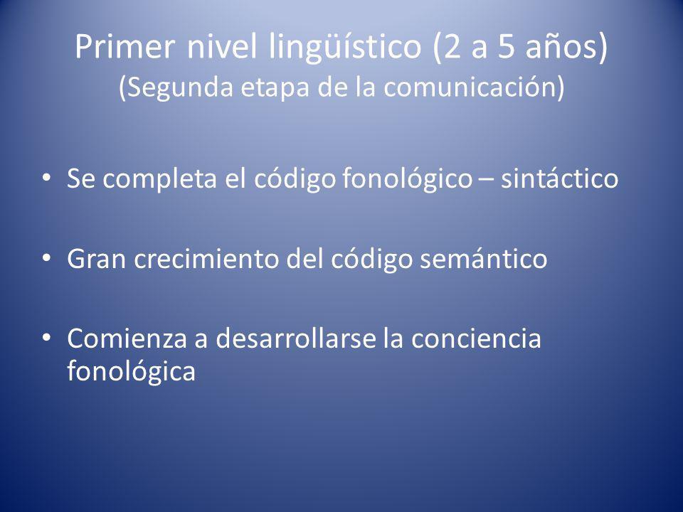 Primer nivel lingüístico (2 a 5 años) (Segunda etapa de la comunicación) Se completa el código fonológico – sintáctico Gran crecimiento del código semántico Comienza a desarrollarse la conciencia fonológica