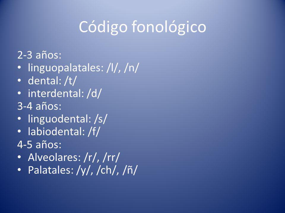 Código fonológico 2-3 años: linguopalatales: /l/, /n/ dental: /t/ interdental: /d/ 3-4 años: linguodental: /s/ labiodental: /f/ 4-5 años: Alveolares: /r/, /rr/ Palatales: /y/, /ch/, /ñ/