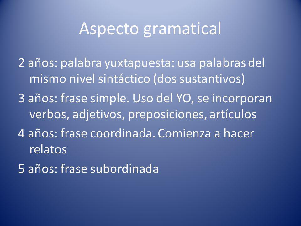 Aspecto gramatical 2 años: palabra yuxtapuesta: usa palabras del mismo nivel sintáctico (dos sustantivos) 3 años: frase simple.