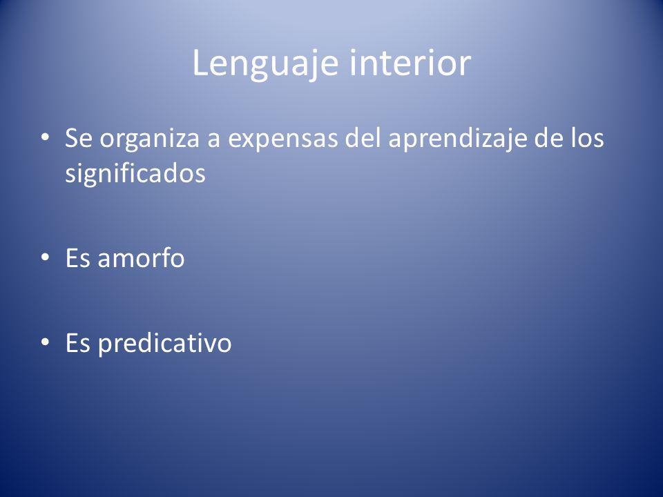 Lenguaje interior Se organiza a expensas del aprendizaje de los significados Es amorfo Es predicativo