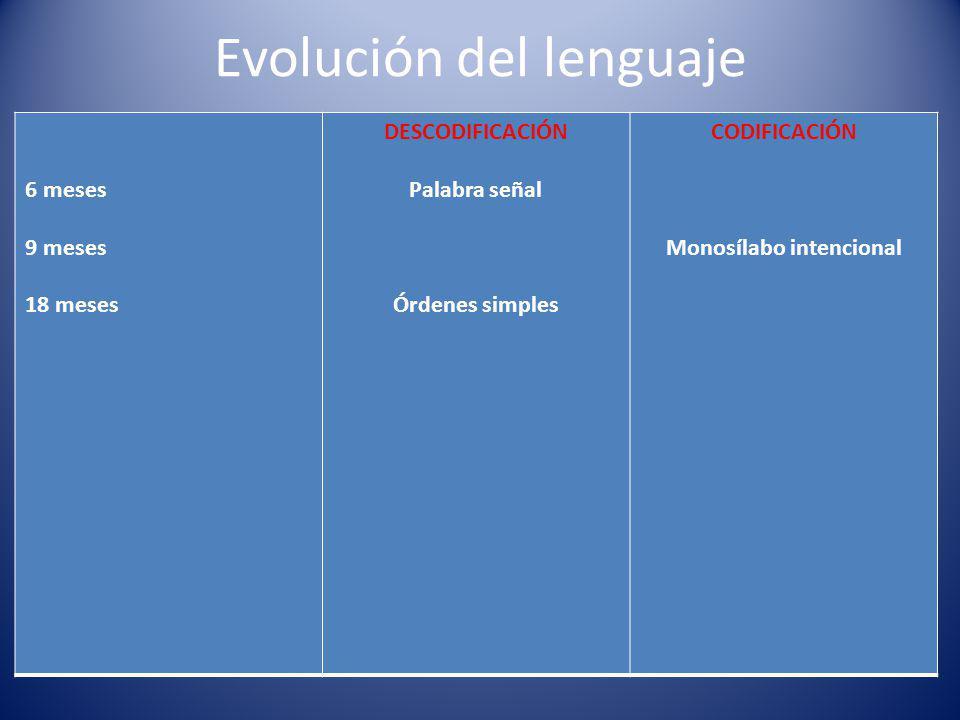 Evolución del lenguaje 6 meses 9 meses 18 meses DESCODIFICACIÓN Palabra señal Órdenes simples CODIFICACIÓN Monosílabo intencional