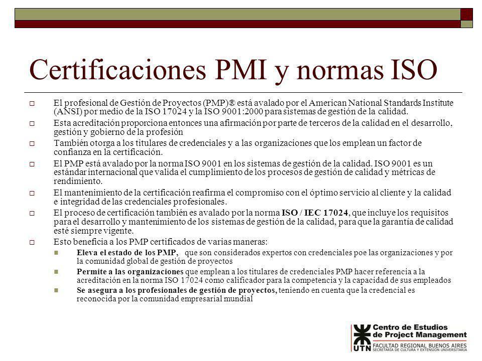 Certificaciones PMI y normas ISO El profesional de Gestión de Proyectos (PMP)® está avalado por el American National Standards Institute (ANSI) por medio de la ISO 17024 y la ISO 9001:2000 para sistemas de gestión de la calidad.