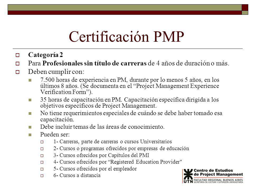 Certificación PMP Categoría 2 Para Profesionales sin título de carreras de 4 años de duración o más. Deben cumplir con: 7.500 horas de experiencia en